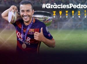 Fotomontagem FCB de agradecimento à Pedro pelos serviços prestados ao clube.