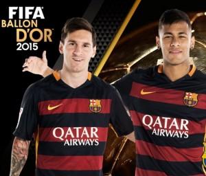 Messi e Neymar, finalistas da Bola de Ouro 2015.