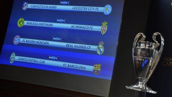 Os confrontos das oitavas das quartas de final da Champions League / UEFA