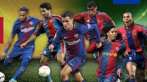 Coutinho junto a outros craques brasileiros do Barça