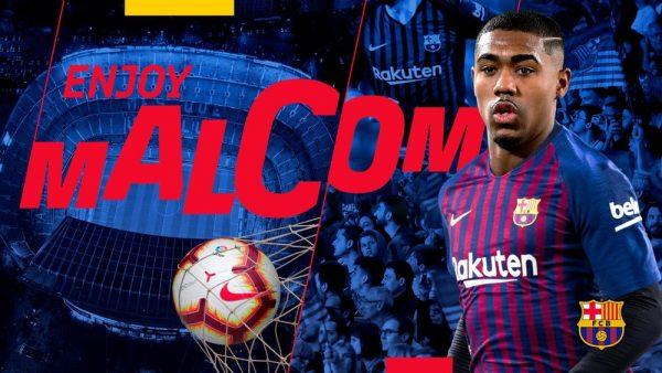 A foto usada pelo Barça para anunciar o reforço do brasileiro Malcom