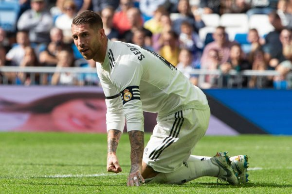 O capitão Sergio Ramos, na derrota diante do Levante (1-2), pela Liga Espanhola