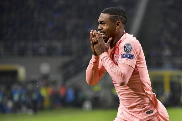 Malcom, emocionado após marcar seu primeiro gol com a camisa do Barça