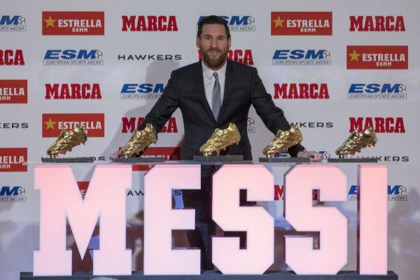 Leo Messi recebeu em Barcelona a sua 5ª Chuteira de Ouro