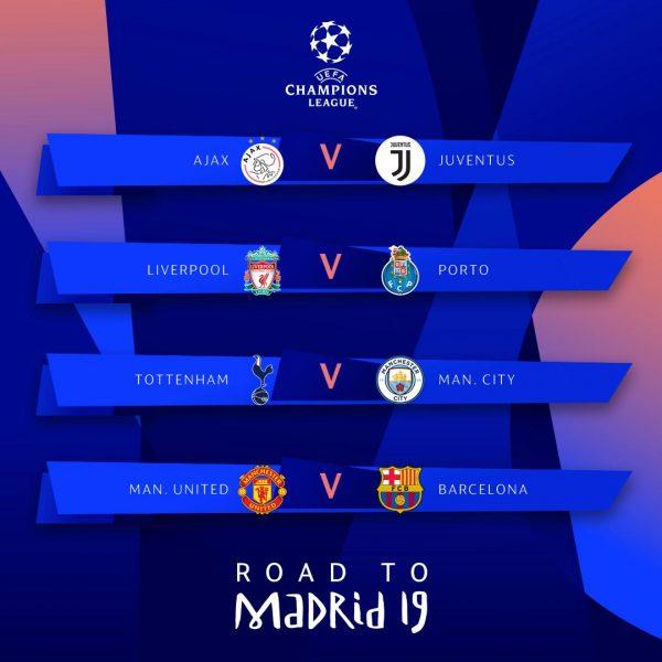 Os duelos das quartas de final da Liga dos Campeões