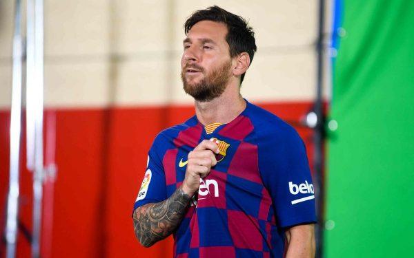 Messi, durante a apresentação da camisa do Barça
