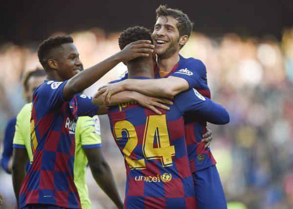 Sergi Roberto celebra o seu 1º gol na temporada.