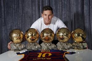 Messi e suas cinco Bolas de Ouro