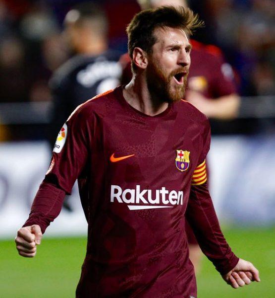 Messi, comemorando um gol