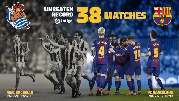 Barça: 38 jogos seguidos invictos na Liga
