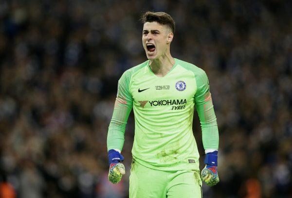 Kepa, comemorando após defender um pênalti na final contra o Manchester City