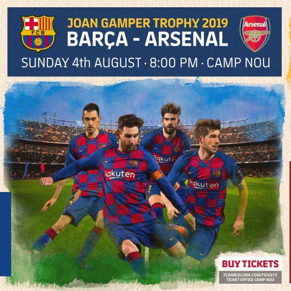 Cartaz promocional do duelo entre Barça e Arsenal no Gamper 2019.
