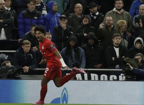 Gnabry marcou quatro gols contra o Tottenham.