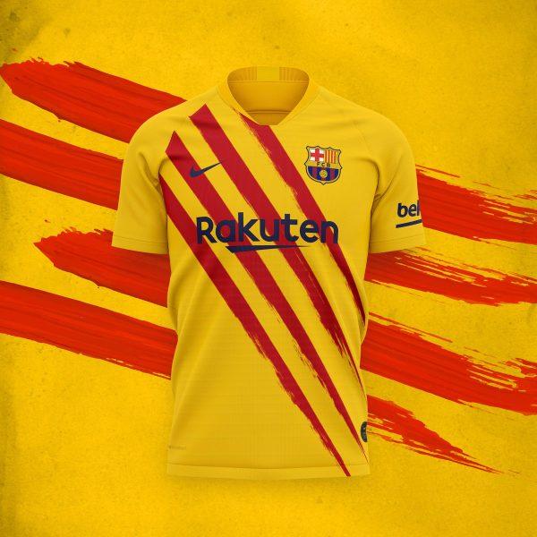 O uniforme especial do Barça tem as cores da Senyera, a bandeira da Catalunha