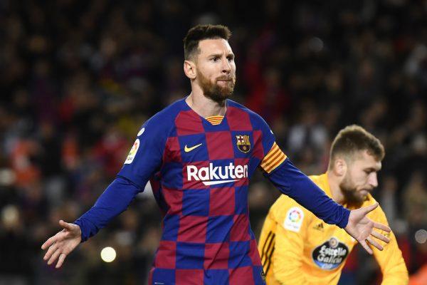 Messi, três gols contra o Celta