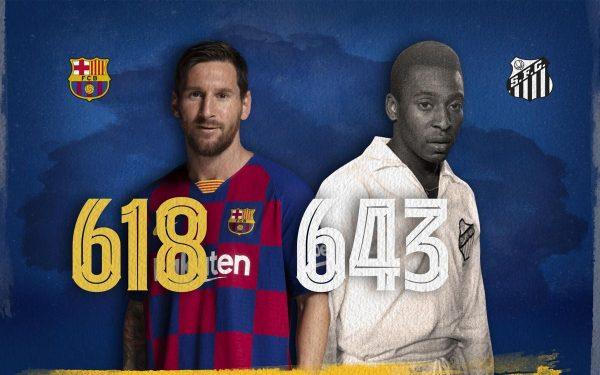 Messi está a 25 gols de igualar o recorde de Pelé como o maior artilheiro de um mesmo clube.
