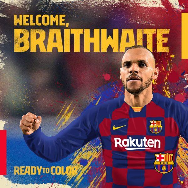 A imagem usada pelo Barça para anunciar a contratação de Braithwaite