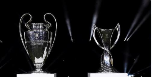 Os troféus da Liga dos Campeões e da Europa League.
